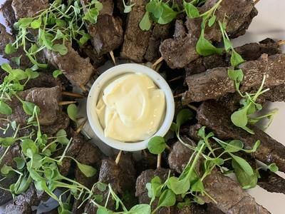 Canapes - Lemon Myrtle Lamb Skewers with Aioli